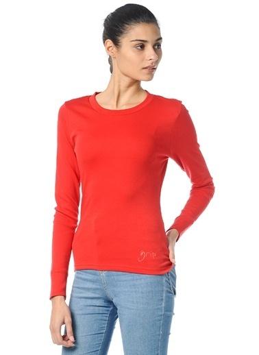 Grip Bisiklet Yaka Sweatshirt Kırmızı